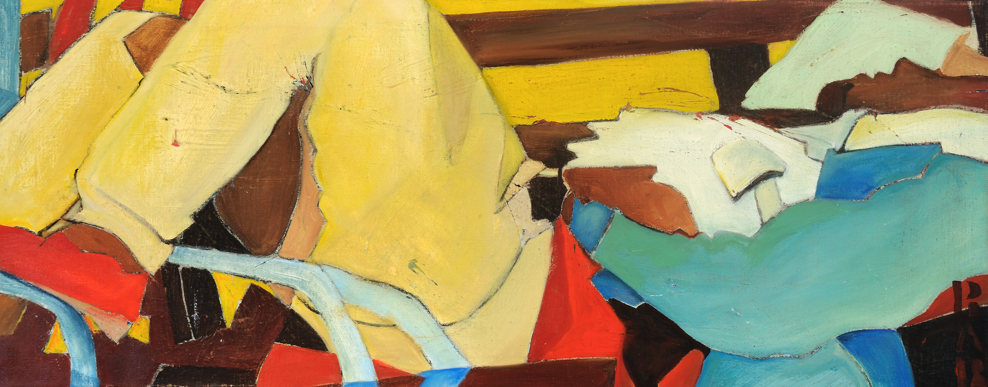 Man Napping on a Park Bench, figurative painting, social abstraction, r.a.b., rachael bohlander, abstractionism, abstracted painting, social justice in art, expressionist painting
