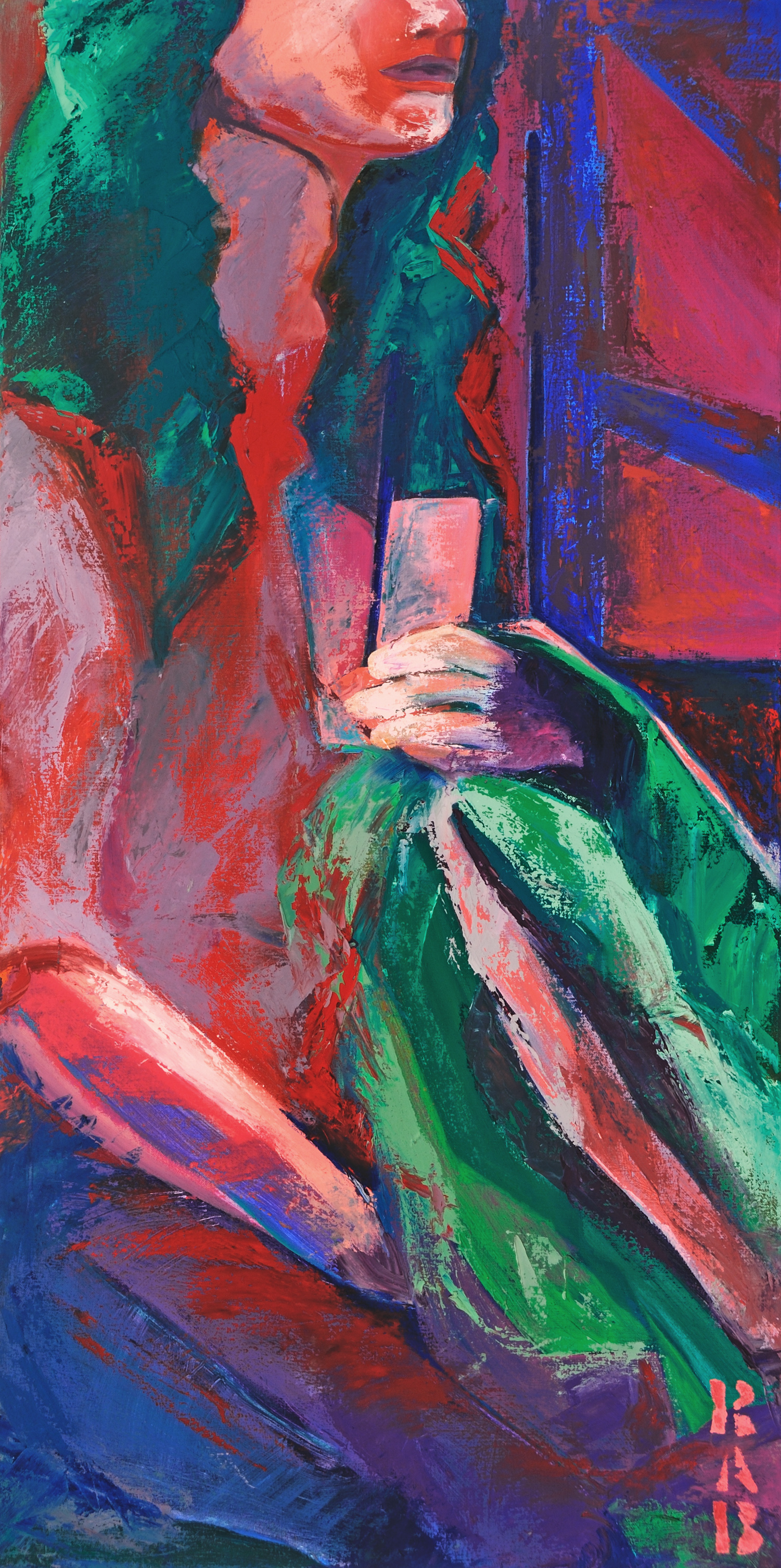 girl with iPod and starbucks, portraiture, r.a.b., rachael bohlander, expressionist painting, oil painting, contemporary art, social abstraction, expressionism, abstractionism