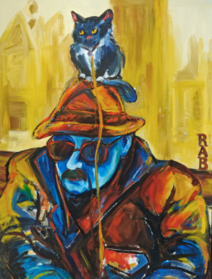 Man with a Kitten on His Hat, Oil Painting, Expressionist Art, Expressionist Painting, Cats in Art, r.a.b., rachael bohlander