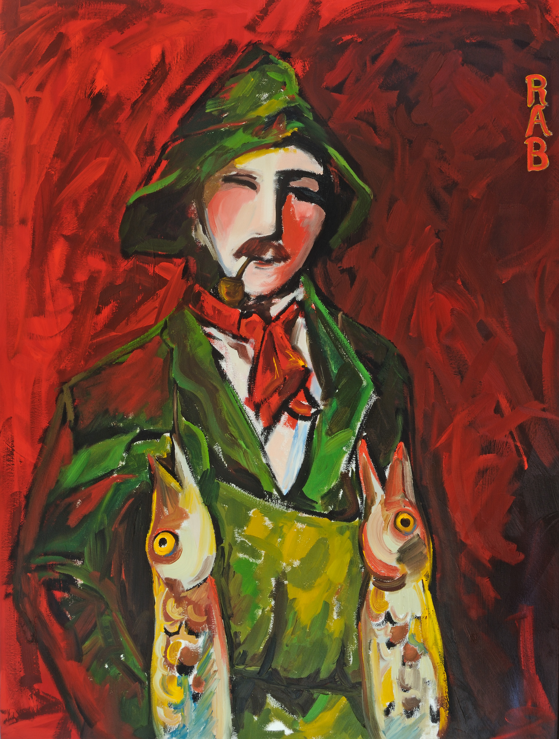 r.a.b., rachael bohlander, Oil Painting. Expressionist Painting. Portraiture. Fish