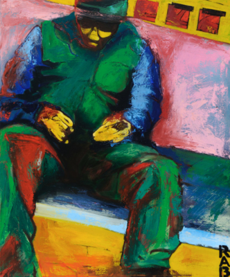 man without a smartphone, r.a.b., rachael bohlander, expressionism, expressionist painting, oil painting, social justice art, figurative, abstracted, abstractionism, social abstraction