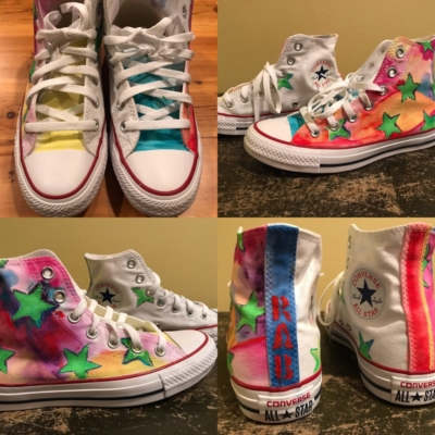 wearable art, converse high-tops, painted shoes, painted clothing, painted sneakers